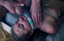 Roxy Bell bound up, gangbanged and facialed