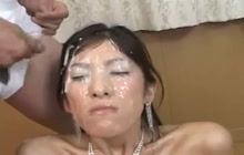 Nasty bukkake for a dirty slut