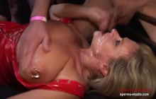 Multiple Facial Cumshots In A Gangbang