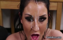 Nasty girl getting her face covered in jizz